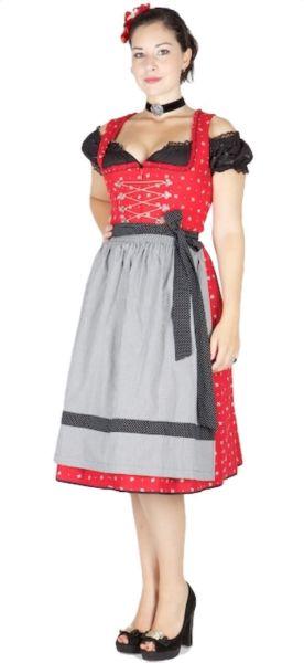 8986 Wenger Dirndl Ilvy rot Schürze schwarz/weiß