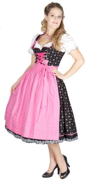 7645 Designer Krüger 70er Dirndl schwarz pink Streublumen