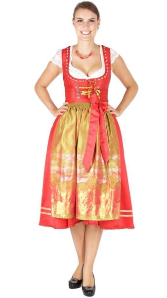 10046 Melega Dirndl Dominique 75er rot grün