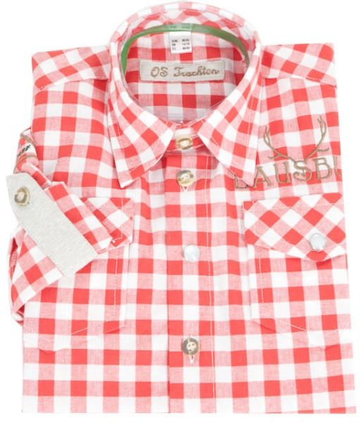 26263 OS Trachten Kinderhemd rot-weiss karo Lausbub