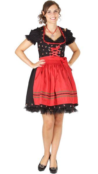 15045 Bergweiss 50er Dirndl schwarz rot