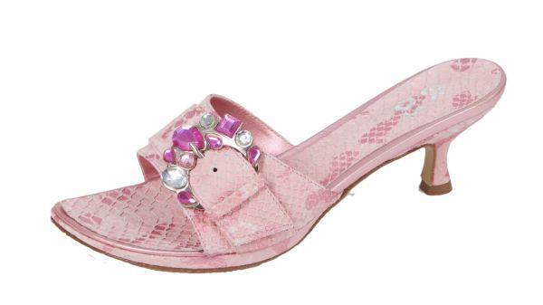 1932 Designer Damen Pantolette Leder rosa