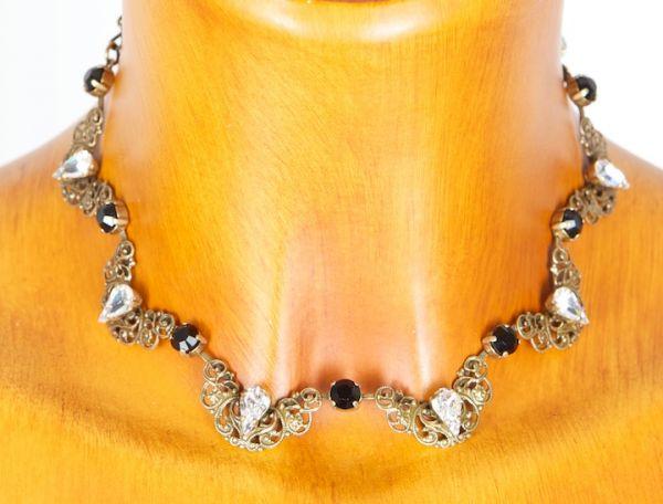 C8182/7 Seibt filegrane Halskette mit Swarowski altgold vers.Farben