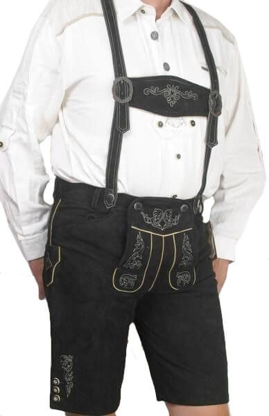Udo kurze Lederhose in schwarz Gr 46