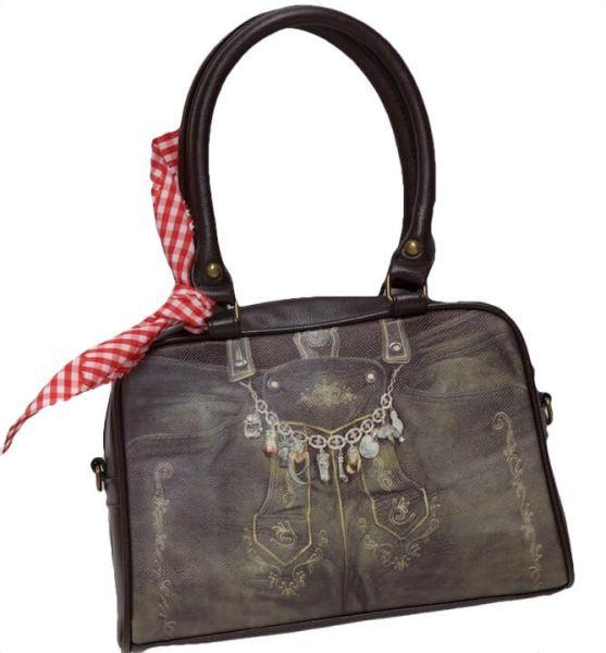 16105 Lady Edelweiss Trachtentasche braun Lederhosenmotiv