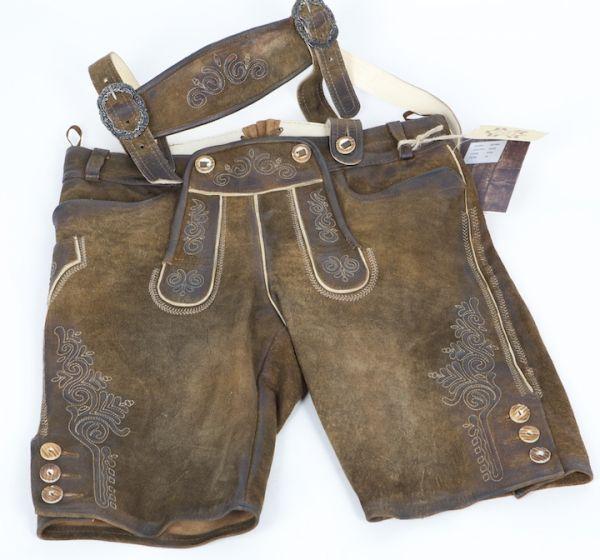 Rafael antik kurze Lederhose Nuss
