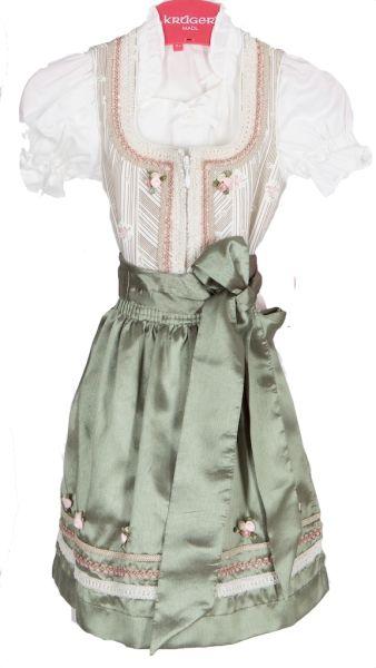 11661 Krüger Madl Kinderdirndl mit Bluse natur hellgrün rose