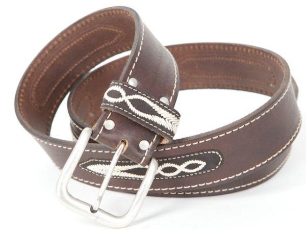 50362 Hochwertiger Trachten Ledergürtel in braun mit Stick