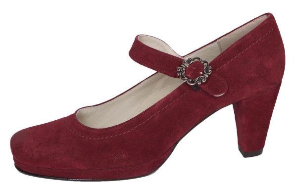 1920-2 Damen Trachtenpumps Samtziege burgund