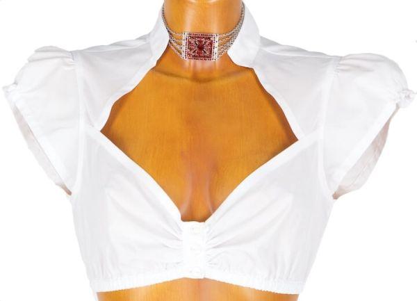 Annabell Trachtenbluse weiß Stehkragen