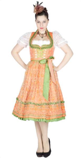 10077 Krüger Manufaktur Dirndl 70er orange grün