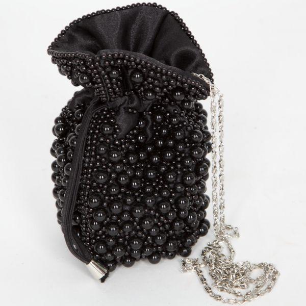 7000 Trachtentasche/ Beutel schwarz mit Perlen