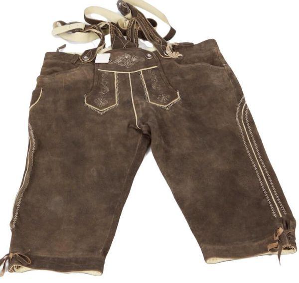 Kniebundlederhose 4210 mit Zopfträger Gr 58 antik urig braun