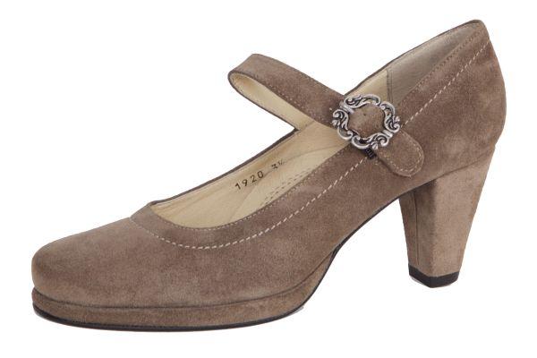 1920-2 Damen Trachtenpumps Samtziege stein