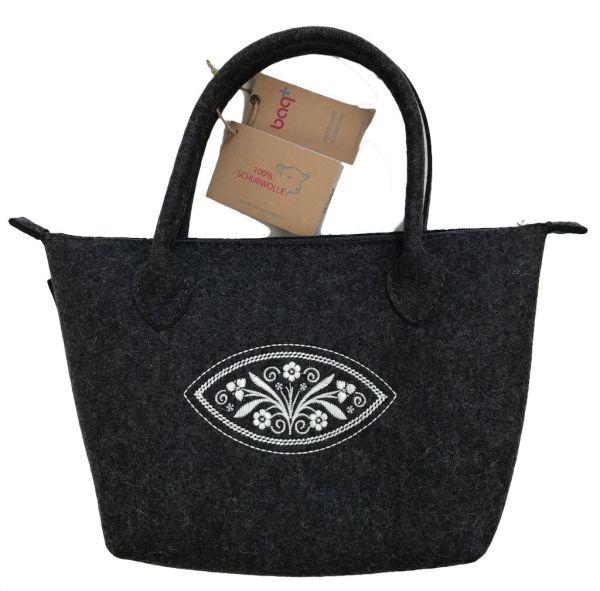 bag+ Trachtentasche Bernau large graphit Federkielstick wollweiss