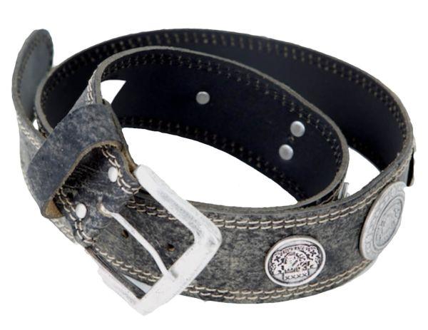 34/2153 Hochwertiger Trachten Ledergürtel mit 6 Münzen