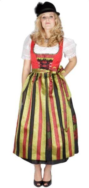 7749 Krüger Manufaktur Dirndl rot schwarz 80er