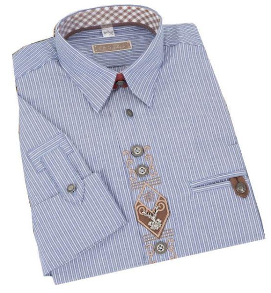 ORB36 Herren Trachtenhemd kornblau gestreift