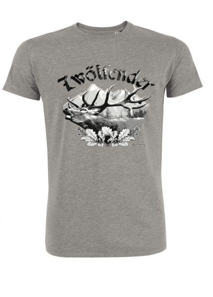 Mister Edelweiss Herren T-Shirt 21003 Zwölfender Gr XL Grau