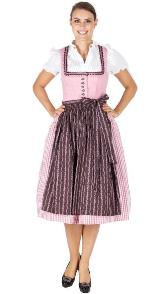11404 Country Line Dirndl 70er rosa braun