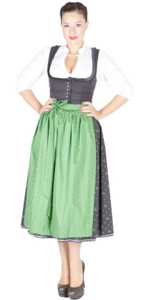 12541 Hofer Dirndl Krems 80er grafit grün
