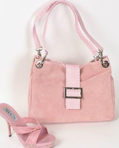 T500 Tolle luxus Wildleder Tasche rosa mit Schnalle