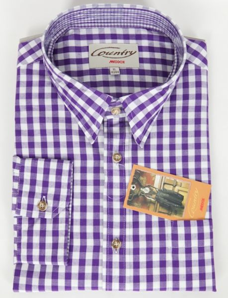Country Maddox Herren Trachtenhemd lila weiß karo Gr S
