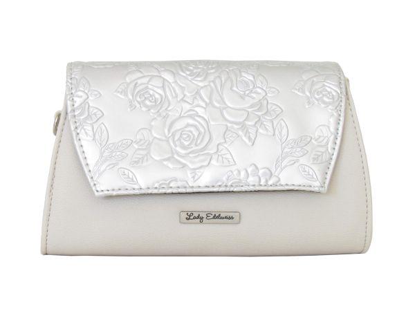 Lady Edelweiss Umhängetasche und Clutch 17502 beige silber
