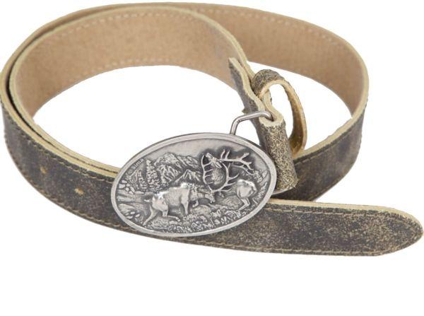 7490/ 2 Hochwertiger Trachten Ledergürtel antik