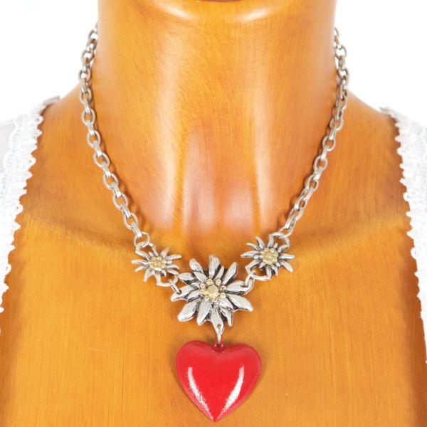 8726 Edelweisscollier mit rotem Herz