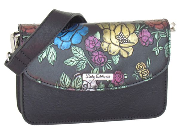 Lady Edelweiss Umhänge und Bauchtasche 18023 schwarz Rosen