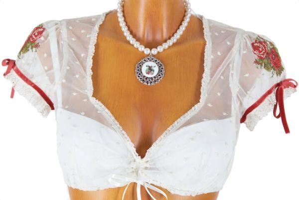 Sportalm Bluse Mabel creme rot Spitze (03)