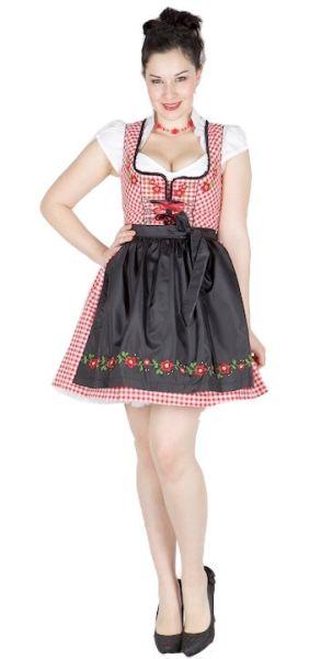 4777 Fuchs 50er Dirndl Blumenstick schwarz rot