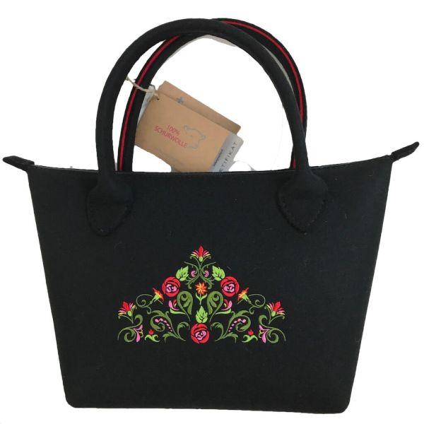 bag+ Trachtentasche Bernau large schwarz rot mit Blütentraum