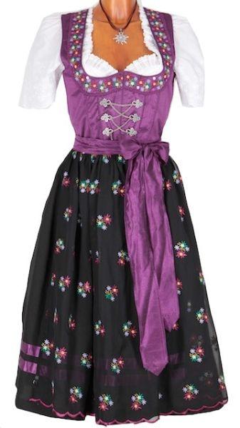 3494 Country Line Blumendirndl 70er lila schwarz