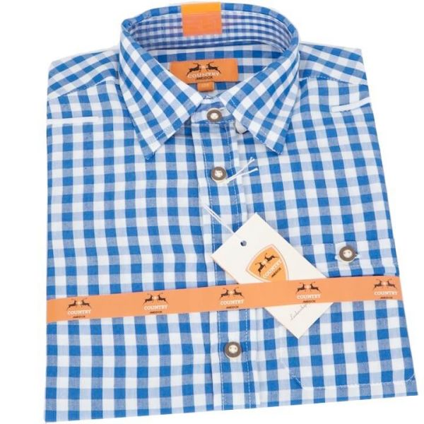 Country Maddox Kinderhemd Lukas K1 karo blau