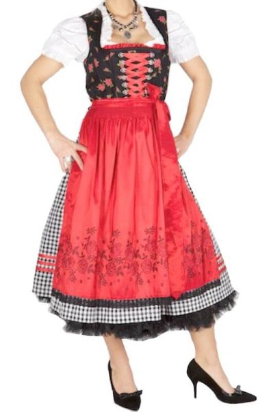 7699 Country Line 70er Dirndl schwarz rot Rosen