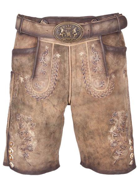 Zabelstein kurze Lederhose marone ZV antik mit Gürtel
