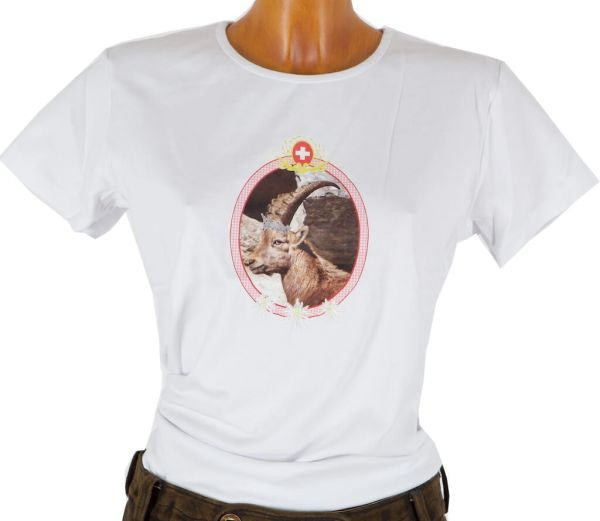 Alpenstyle T-Shirt weiß mit Steinbock-Motiv Gr L