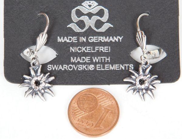 08650 Seibt Ohrhänger Edelweiß kl Swarowski vers.Farben