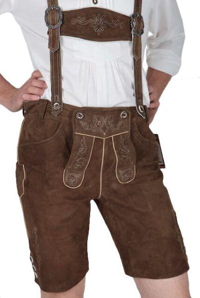Spieth & Wensky kurze Lederhose Zurro Khaki mit Stegträger