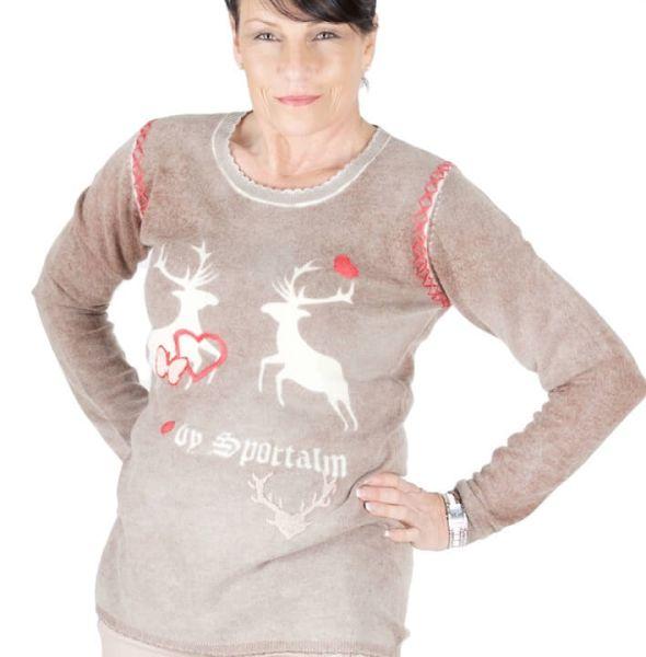 Sportalm Pullover Helen sand Hirschen