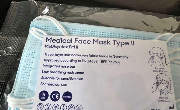 Medizinische Mund Nasen Maske 3-lagig 5 Stück im Blister