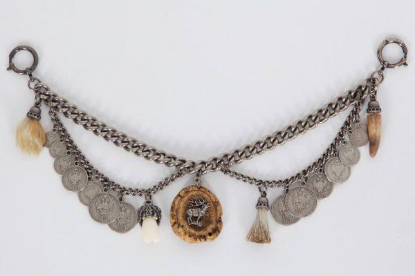 C 684 edles Herren Trachtencharivari mit Münzen Doppelkette