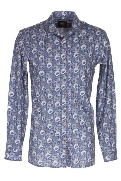 Hammerschmid Herrenhemd 202 1632 49 Blau gemustert