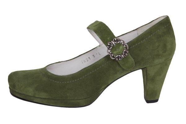 1920-2 Damen Trachtenpumps Samtziege kiwi