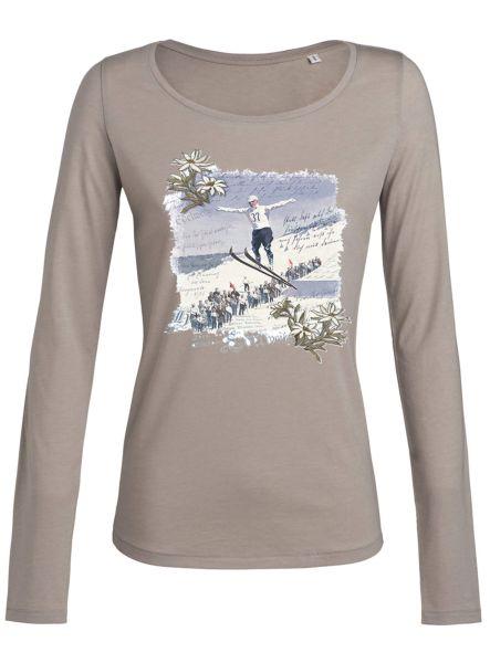 Lady Edelweiss Damen T-Shirt 20306 Skispringer Gr S Nude langarm