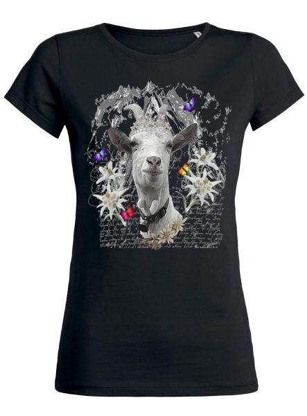 Lady Edelweiss Damen T-Shirt 20429 Geißbock Gr M Schwarz