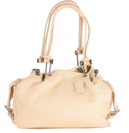 BE145 Leder Handtasche creme