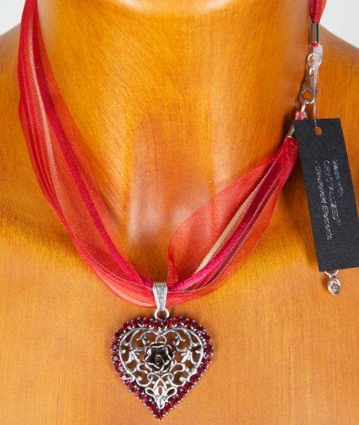 C9237 Filiegranes Herz mit Rose und Strass vers.Farben